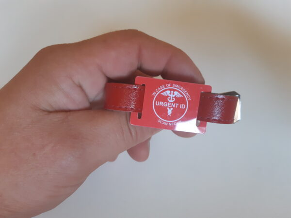 URGENT ID náramek - barexový pásek červený